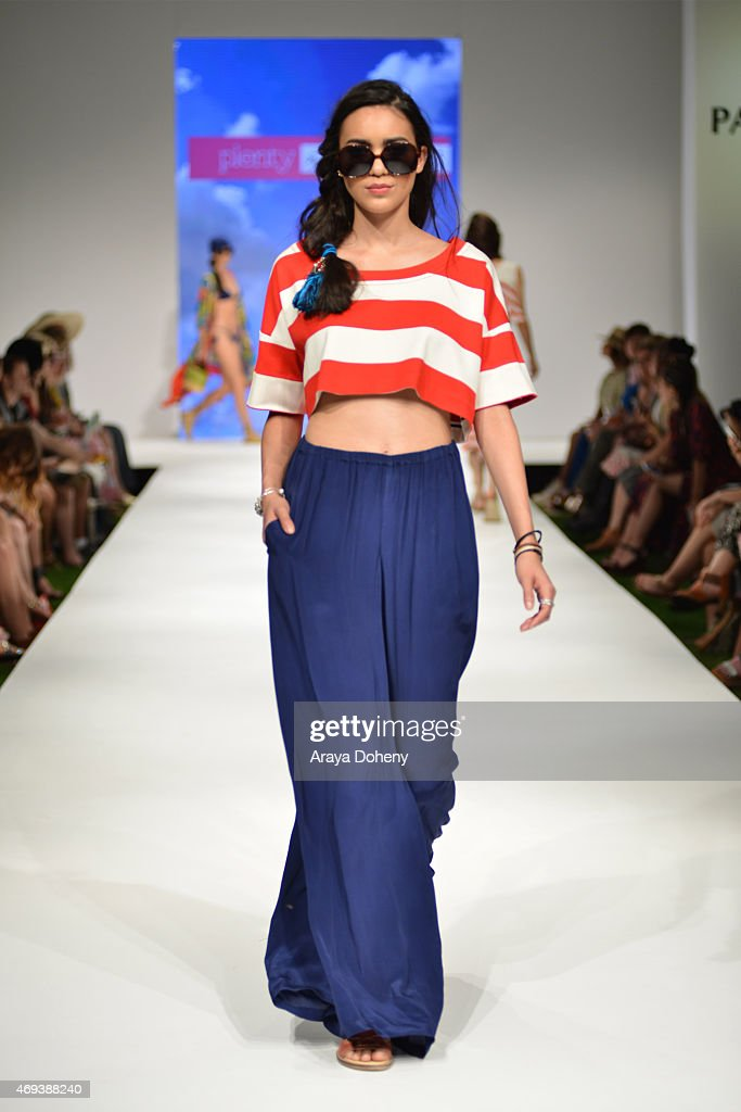A model walks the runway at the PANDORA Jewelry and the Plenty by Tracy Reese fashion show at the PANDORA Jewelry Experience #ArtofYou at on April 11...