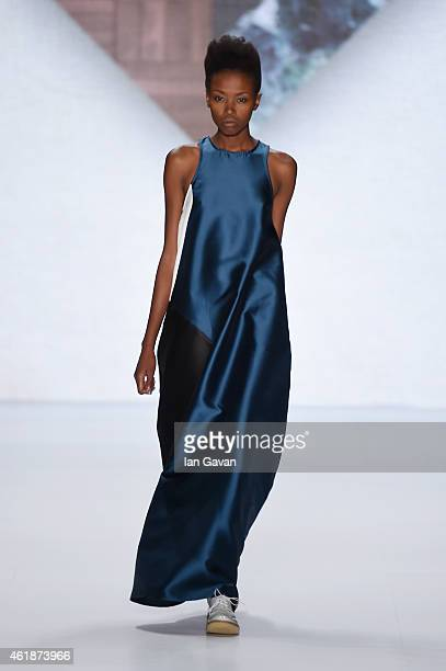 A model walks the runway at the Paper London presented by MercedesBenz and Elle show during the MercedesBenz Fashion Week Berlin Autumn/Winter...