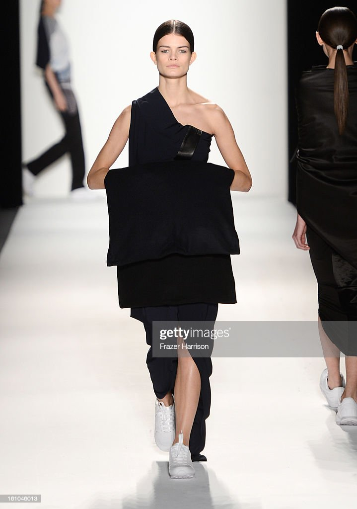 A model walks the runway at the Parkchoonmoo Fall 2013 fashion show during Mercedes-Benz Fashion Week Fall 2013 - Official Coverage - Best of Runway Day 2 at Lincoln Center on February 8, 2013 in New York City.