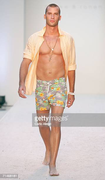 A model walks the runway at the Parke Ronen Summer 2007 fashion show during the Sunglass Hut Swim Shows Miami in the Cabana Grande tent at the...