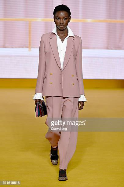 A model walks the runway at the Paul Smith Autumn Winter 2016 fashion show during London Fashion Week on February 21 2016 in London United Kingdom