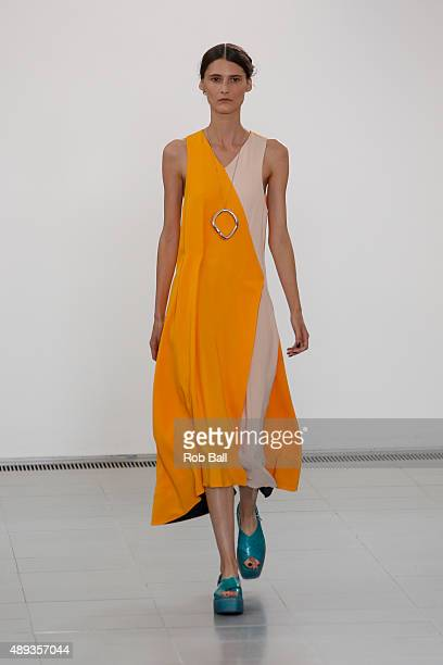 A model walks the runway at the Paul Smith show during London Fashion Week Spring/Summer 2016/17 on September 20 2015 in London England