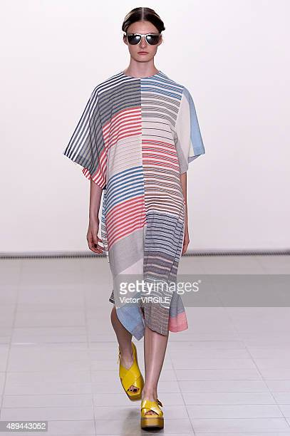A model walks the runway at the Paul Smith show during London Fashion Week Spring/Summer 2016 on September 20 2015 in London England