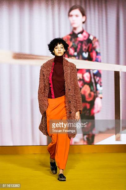 A model walks the runway at the Paul Smith show during London Fashion Week Autumn/Winter 2016/17 at Royal College Of Physicians on February 21 2016...