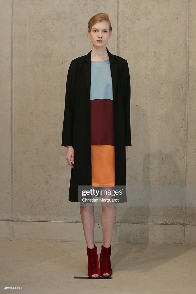 A model walks the runway at the Perret Schaad show during Mercedes-Benz Fashion Week Autumn/Winter 2014/15 on January 16, 2014 in Berlin, Germany.