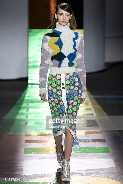 A model walks the runway at the Peter Pilotto Autumn Winter 2015 fashion show during London Fashion Week on February 23 2015 in London United Kingdom