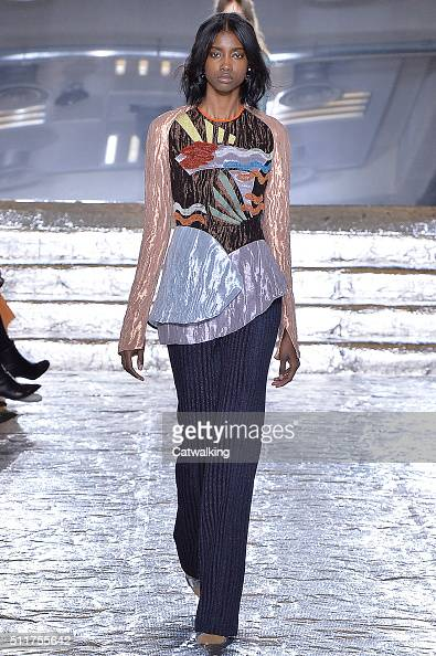 A model walks the runway at the Peter Pilotto Autumn Winter 2016 fashion show during London Fashion Week on February 22 2016 in London United Kingdom