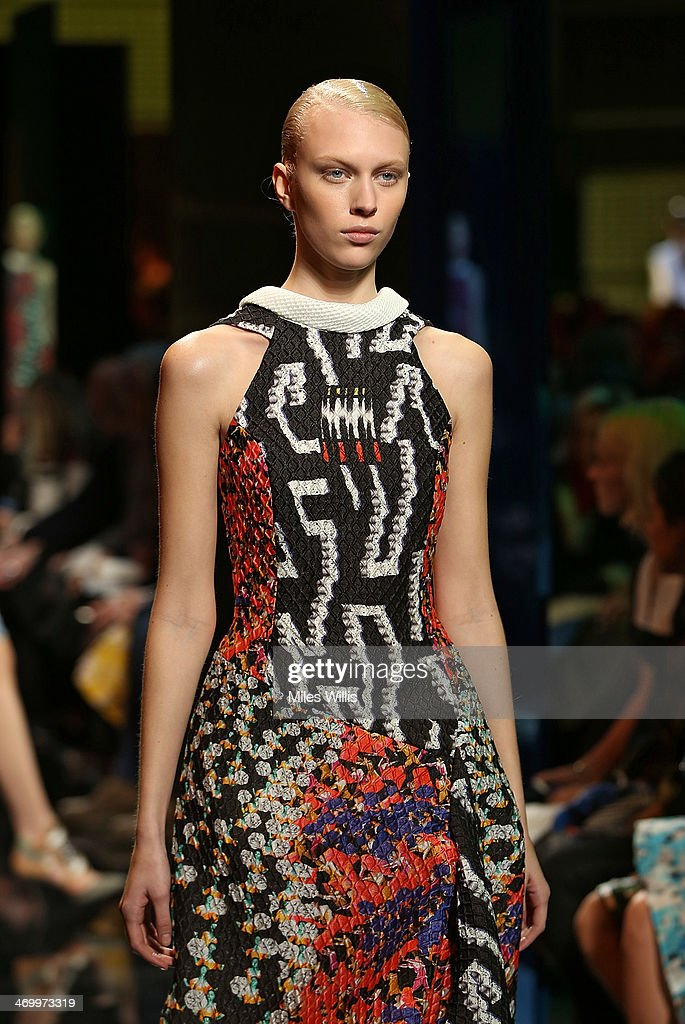 A model walks the runway at the Peter Pilotto show at London Fashion Week AW14 at The Queen Elizabeth II Conference Centre on February 17 2014 in...