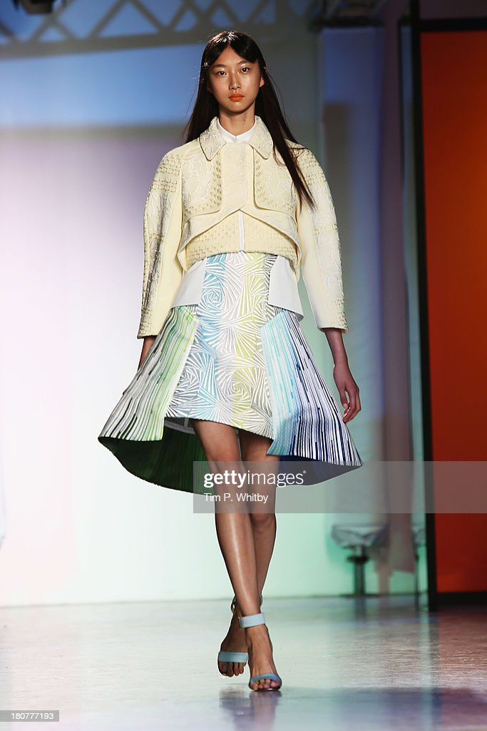 A model walks the runway at the Peter Pilotto show during London Fashion Week SS14 at Victoria House on September 16, 2013 in London, England.
