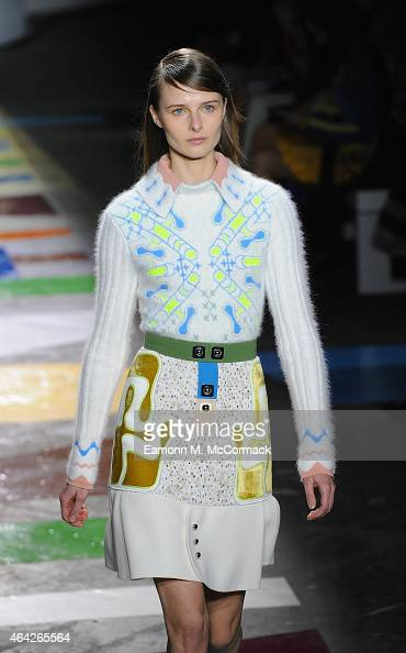 A model walks the runway at the Peter Pilotto show during London Fashion Week Fall/Winter 2015/16 at The Old Sorting Office on February 23 2015 in...