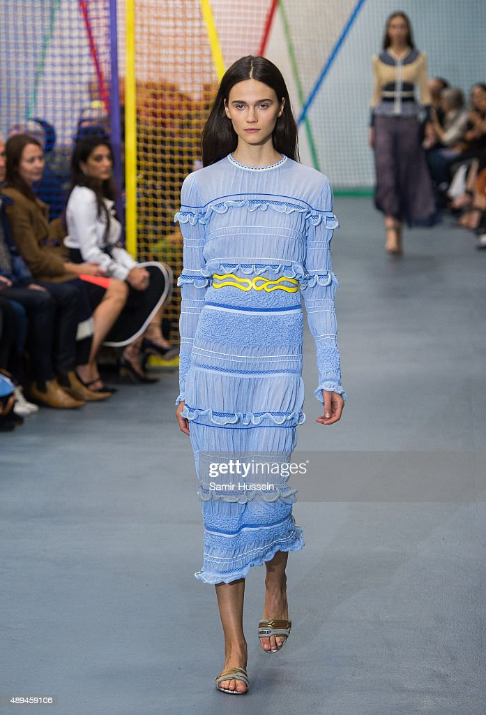 A model walks the runway at the Peter Pilotto show during London Fashion Week Spring/Summer 2016on September 21 2015 in London England
