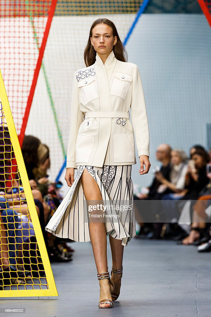 A model walks the runway at the Peter Pilotto show during London Fashion Week Spring/Summer 2016 on September 21 2015 in London England