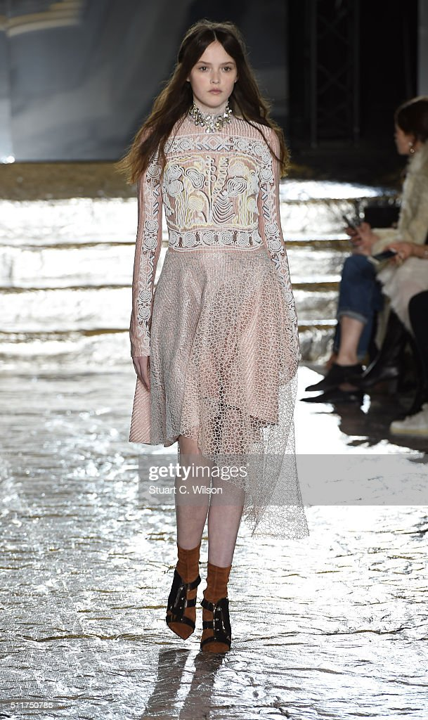 A model walks the runway at the Peter Pilotto show during London Fashion Week Autumn/Winter 2016/17 at The Queen Elizabeth II Conference Centre on...