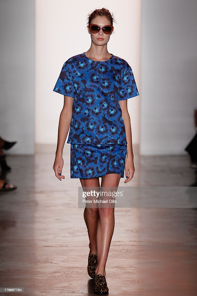 A model walks the runway at the Peter Som Spring 2014 fashion show during Mercedes-Benz Fashion Week at Milk Studios on September 6, 2013 in New York City.