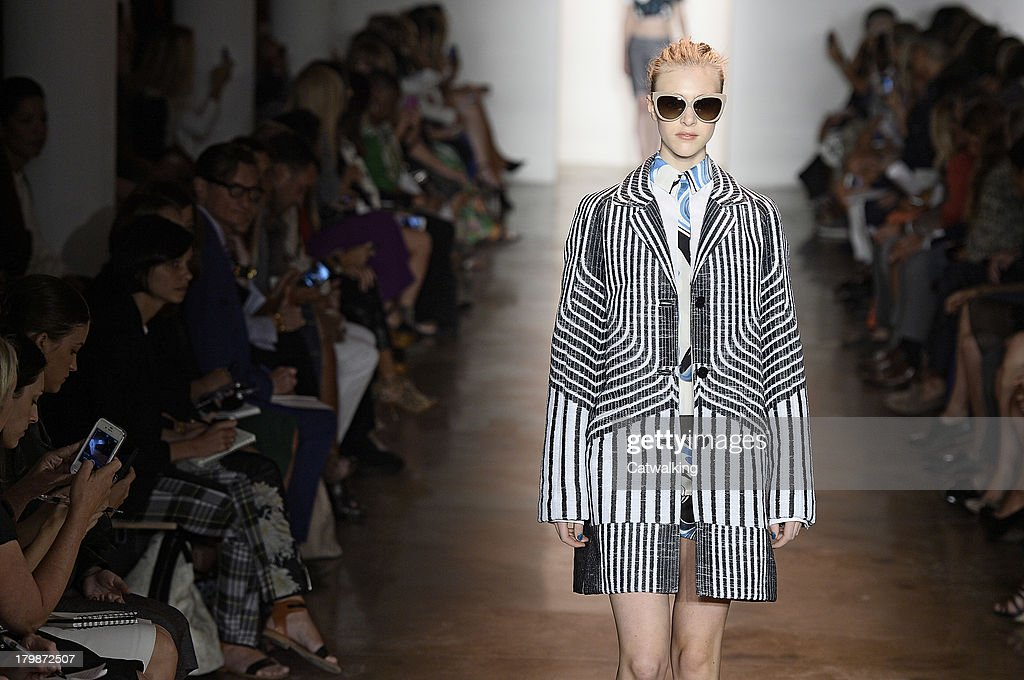 A model walks the runway at the Peter Som Spring Summer 2014 fashion show during New York Fashion Week on September 6, 2013 in New York, United States.
