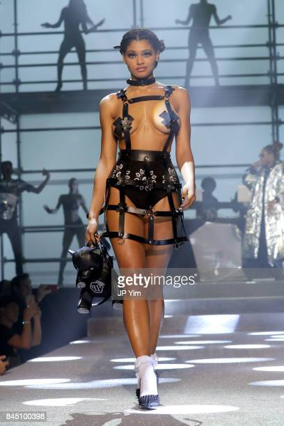 A model walks the runway at the Philipp Plein fashion show during New York Fashion Week The Shows at Hammerstein Ballroom on September 9 2017 in New...