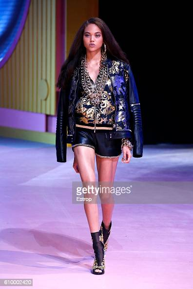 A model walks the runway at the Philipp Plein show Milan Fashion Week Spring/Summer 2017 on September 21 2016 in Milan Italy