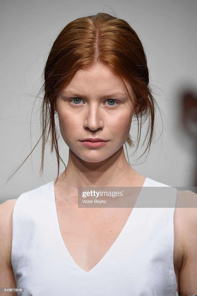 A model walks the runway at the Philomena Zanetti show during the Mercedes-Benz Fashion Week Berlin Spring/Summer 2017 at Stage at me Collectors Room on June 29, 2016 in Berlin, Germany.
