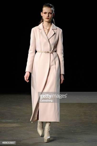 A model walks the runway at the Philosophy Autumn Winter 2014 fashion show during New York Fashion Week on February 12 2014 in New York United States