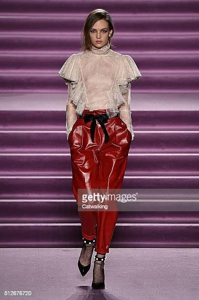 A model walks the runway at the Philosophy di Lorenzo Serafini Autumn Winter 2016 fashion show during Milan Fashion Week on February 27 2016 in Milan...