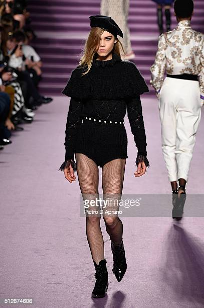A model walks the runway at the Philosophy di Lorenzo Serafini show during Milan Fashion Week Fall/Winter 2016/17 on February 27 2016 in Milan Italy