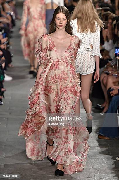 A model walks the runway at the Philosophy di Lorenzo Serafini Spring Summer 2016 fashion show during Milan Fashion Week on September 25 2015 in...
