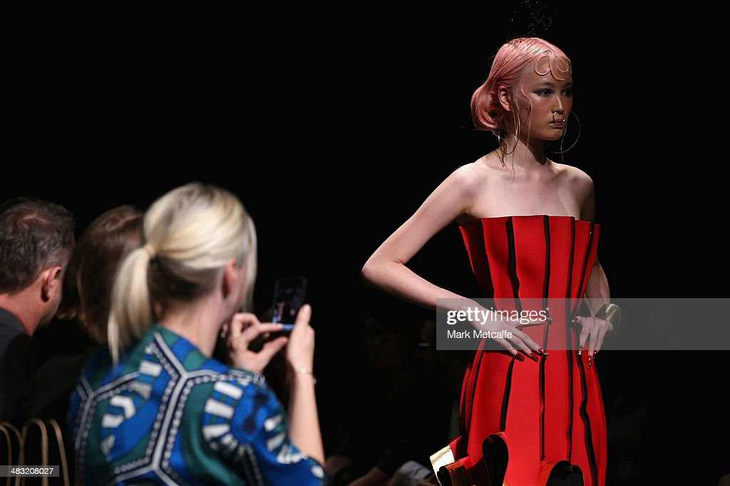 A model walks the runway at the Phoenix Keating show during Mercedes-Benz Fashion Week Australia 2014 at Carriageworks on April 7, 2014 in Sydney, Australia.