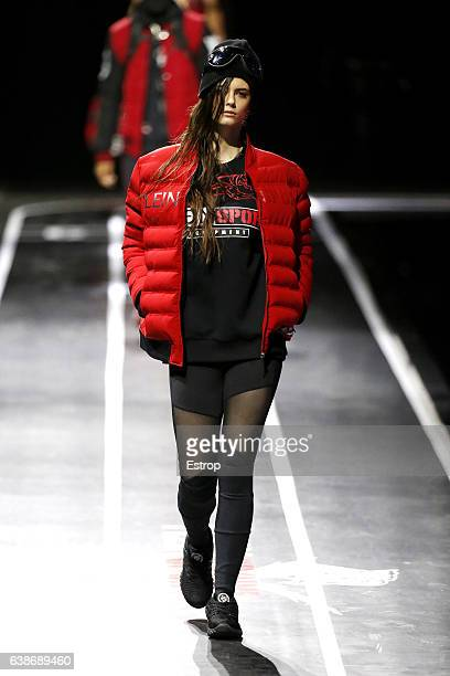 A model walks the runway at the Plein Sport show during Milan Men's Fashion Week Fall/Winter 2017/18 on January 14 2017 in Milan Italy