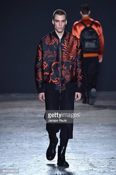 Model walks the runway at the Ports 1961 show during Milan Men's Fashion Week Fall/Winter 2016/17 on January 15 2016 in Milan Italy