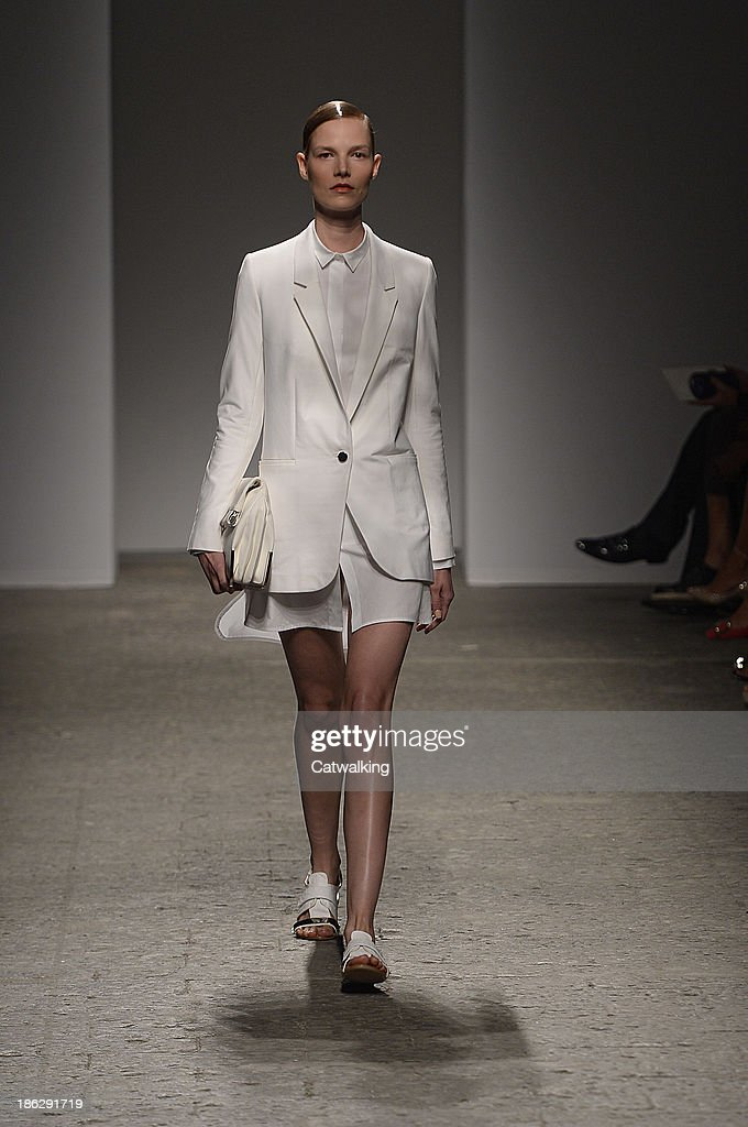 A model walks the runway at the Ports 1961 Spring Summer 2014 fashion show during Milan Fashion Week on September 19, 2013 in Milan, Italy.