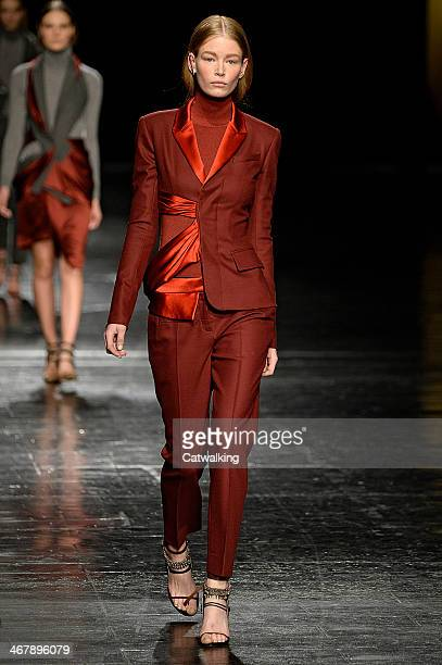 A model walks the runway at the Prabal Gurung Gurung Autumn Winter 2014 fashion show during New York Fashion Week on February 8 2014 in New York...