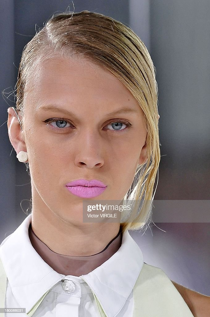 A model walks the runway at the Prabal Gurung Ready to Wear Spring Summer 2014 fashion show during Mercedes-Benz Fashion Week at Moynihan Station in New York City on September 7, 2013 in New York City.