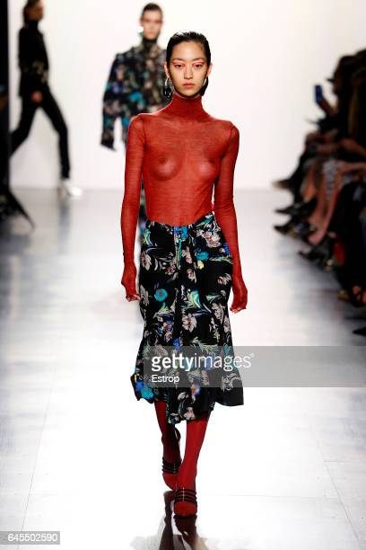 A model walks the runway at the Prabal Gurung show during the New York Fashion Week February 2017 collections on February 12 2017 in New York City