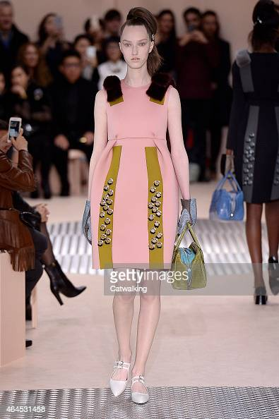 A model walks the runway at the Prada Autumn Winter 2015 fashion show during Milan Fashion Week on February 26 2015 in Milan Italy