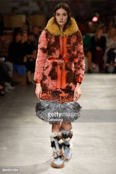 A model walks the runway at the Prada Autumn Winter 2017 fashion show during Milan Fashion Week on February 23 2017 in Milan Italy