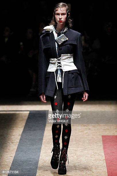 A model walks the runway at the Prada fashion show during Milan Fashion Week Fall/Winter 2016/2017 on February 25 2016 in Milan Italy