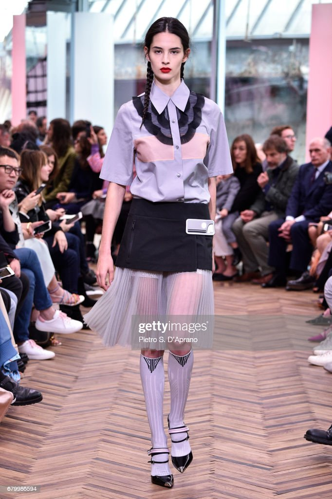 A model walks the runway at the Prada Resort Collection 2018 show at Osservatorio Prada on May 7, 2017 in Milan, Italy.