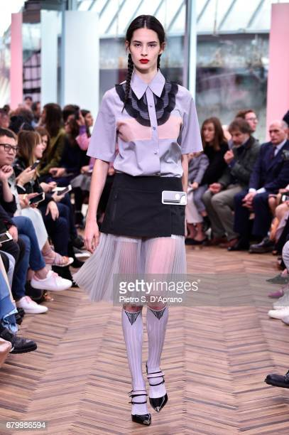 A model walks the runway at the Prada Resort Collection 2018 show at Osservatorio Prada on May 7 2017 in Milan Italy