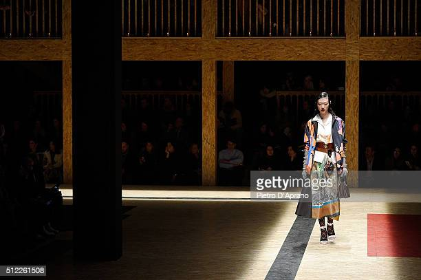 A model walks the runway at the Prada show during Milan Fashion Week Fall/Winter 2016/17 on February 25 2016 in Milan Italy
