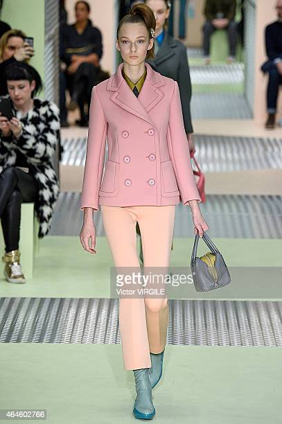 A model walks the runway at the Prada show during the Milan Fashion Week Autumn/Winter 2015 on February 26 2015 in Milan Italy
