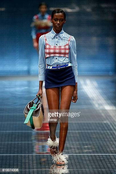 A model walks the runway at the Prada show Milan Fashion Week Spring/Summer 2017 on September 22 2016 in Milan Italy