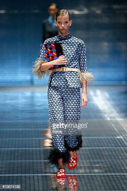 A model walks the runway at the Prada show Milan Fashion Week Spring/Summer 2017 on September 22 2016 in Milan Italy