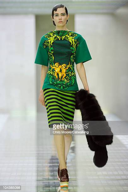 A model walks the runway at the Prada Spring Summer 2011 fashion show during Milan Fashion Week at on September 23 2010 in Milan City