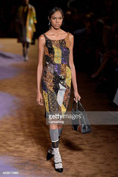 A model walks the runway at the Prada Spring Summer 2015 fashion show during Milan Fashion Week on September 18 2014 in Milan Italy