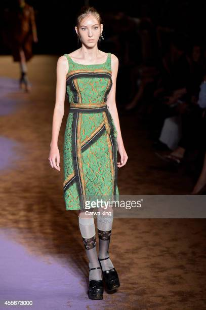 A model walks the runway at the Prada Spring Summer 2015 fashion show during Milan Fashion Week on September 18 2014 in Milan Italy