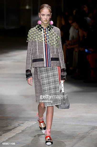 A model walks the runway at the Prada Spring Summer 2016 fashion show during Milan Fashion Week on September 24 2015 in Milan Italy