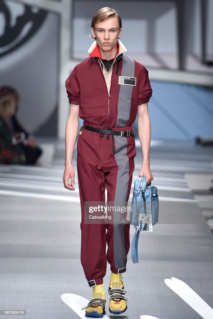 A model walks the runway at the Prada Spring Summer 2018 fashion show during Milan Menswear Fashion Week on June 18, 2017 in Milan, Italy.