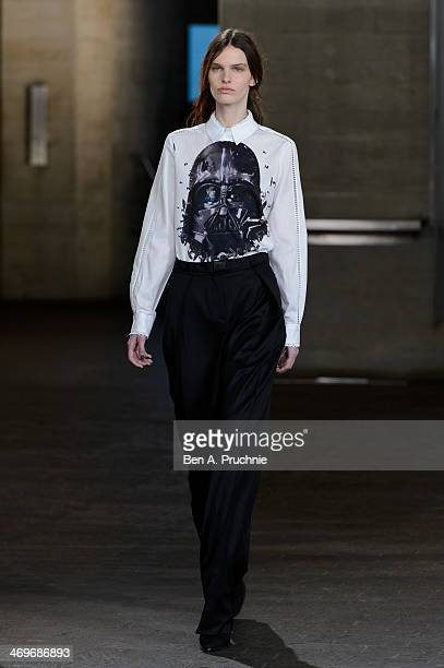 A model walks the runway at the Preen by Thornton Bragazzi show at London Fashion Week AW14 at on February 16 2014 in London England