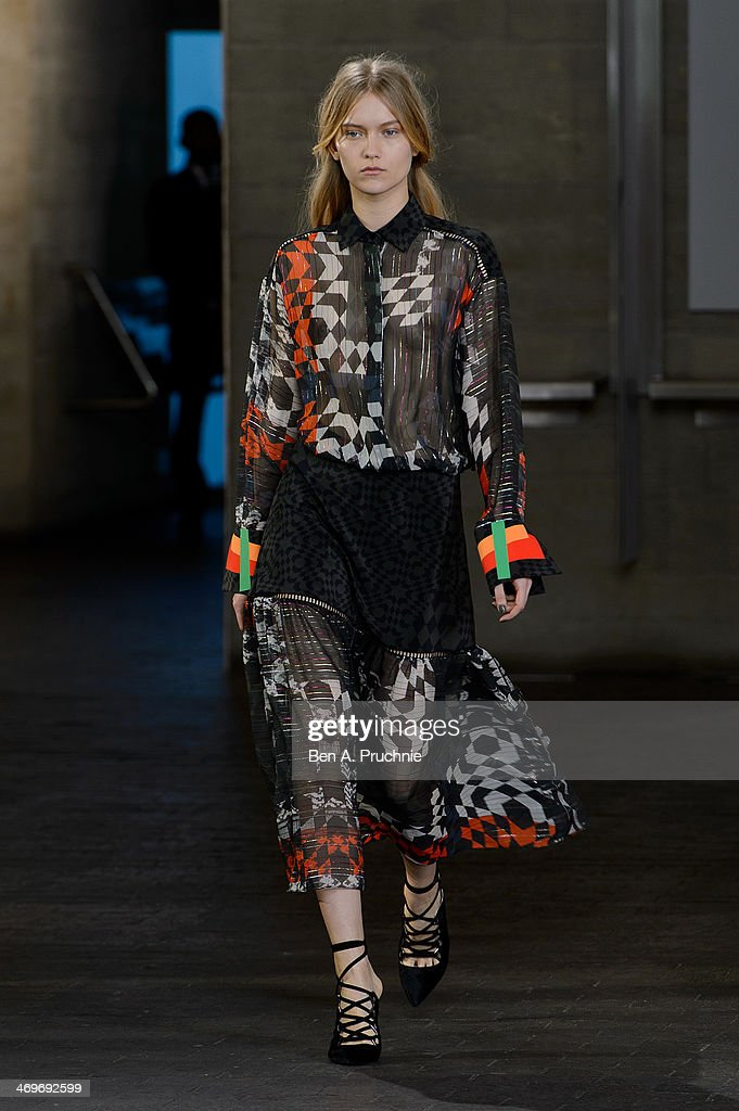 A model walks the runway at the Preen by Thornton Bragazzi show at London Fashion Week AW14 at on February 16, 2014 in London, England.