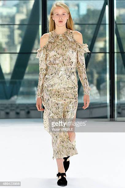 A model walks the runway at the Preen by Thornton Bregazzi Ready to Wear show during London Fashion Week Spring/Summer 2016/17 on September 20 2015...